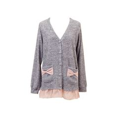 tocco/リボンポケット 裾シフォン カーディガン ❤ liked on Polyvore featuring tops, cardigans, outerwear and sweaters