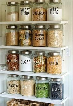 Pantry Labels // Kitchen Labels // Labels for Containers // Labels for Jars // Personalized Decals // Vinyl Decals – Remodel the Kitchen – Water – Experience Of Pantrys Kitchen Labels, Kitchen Organization Pantry, Diy Kitchen Storage, Pantry Labels, Kitchen Pantry, Kitchen Hacks, Organization Hacks, New Kitchen, Kitchen Decor