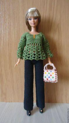 Купить Зеленая ажурная кофточка - зеленый, одежда для кукол, кукольная одежда, одежда для барби