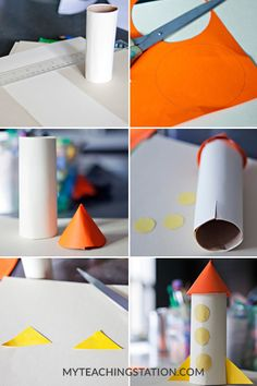 Have a toilet paper roll? Here are some easy toilet paper roll crafts ideas that you can teach your preschooler or older kid. Build A Rocket, Diy Rocket, Space Crafts For Kids, Art For Kids, Kids Crafts, Preschool Rocket, Planets Preschool, Rocket Ship Craft, Planet Crafts