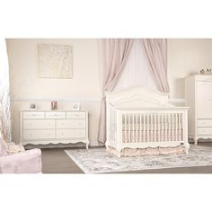 Evolur Aurora Crib in Ivory Lace, $569.99. Set with matching dresser (669.99) and nightstand (359.99)
