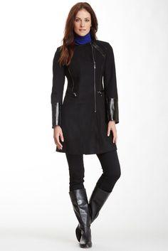 Via Spiga Collarless Mixed Media Melton Wool Blend Coat