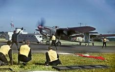 """Torpedo bomber Fairey Barracuda from 767 squadron at the airbase Navy HMS """"Spurious"""" from runway that simulates the deck of an aircraft carrier. Air Force Aircraft, Ww2 Aircraft, Aircraft Carrier, Military Aircraft, Royal Canadian Navy, Royal Navy, Hms Illustrious, Fairey Swordfish, Royal Air Force"""