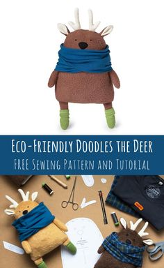 Free reindeer softie sewing pattern!