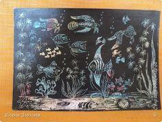 Картина панно рисунок Граттаж Цап-царапки Воск парафин Картон Тушь фото 7