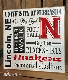 "Alma Mater, College Sports, Sport Fan Gift, University of Nebraska, Huskers Fans Subway Style 12""x12"" Sign Word Art by The Word Sister"