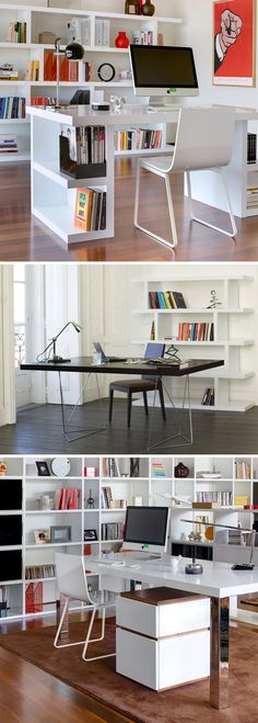 Contemporary home office (Interior design, home decor, fun, creative, ideas, inspiration, amazing, different, interesting, style, desk, chair)