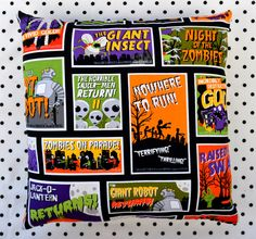 14x14 Horror Movie Posters & Black and White Checkers Pillow - $12.22 - Sabbie's Purses & More
