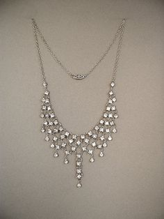 ART DECO Necklace Paste Stones STERLING Silver Chain Wedding Bridal Jewelry c.1920's