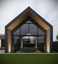 House by Alex Svyryd Modern Small House Design, Modern Barn House, Long House, Container House Design, Facade Design, Facade House, Home Fashion, Modern Architecture, House Styles