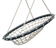 """SWINGING MONKEY PRODUCTS Hammock Lounge Chair 32"""" Spider Web Swing, Light Brown - Porch Swing, Great for Adults, Nylon Rope with Padded Steel Frame, Tree Swing, Children's Swing, Easy Installation"""