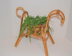 Vintage Planter Eclectic Bohemian Danish Horse Danish Style, Flower Holder, Bent Wood, Vintage Planters, Wishbone Chair, Rattan, Bamboo, Bohemian, Horses