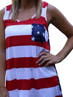 XTX Vogue Womens Color Block American Flag Printing Pocket Tank Camisole m red ** Want to know more, click on the image.