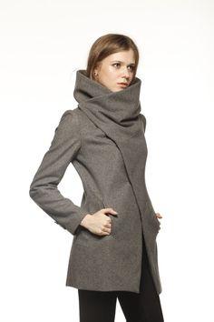 Abrigo de cuello alto gris oscuro chaqueta de lana invierno mujeres - por encargo - NC493