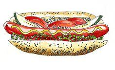 Chicago hotdog illustration. thefrancofly.com by Jessie Kanelos Weiner
