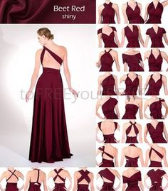 Long infinity dress in BEET RED shiny, FULL Free-Style Dress, maxi convertible dress, bridesmaid dre Infinity Dress Ways To Wear, Infinity Dress Styles, Infinity Dress Bridesmaid, Fall Bridesmaid Dresses, Prom Dresses, Multi Way Dress, Dress Tutorials, Evening Dresses, Fashion Dresses