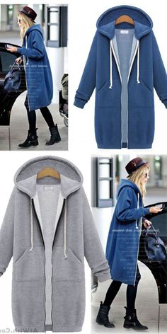 Cheap Fashion Long-sleeved Sweater Coat Long Hooded Coat Thicker Coat Pullover For Big Sale! Long Hooded Coat, Long Sweater Coat, Long Sleeve Sweater, Hooded Jacket, Girls Sweaters, Sweaters For Women, Sweater Fashion, Fashion Coat, Cheap Fashion