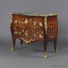 A Louis XV Style Bois Satine and Fruitwood #Marquetry# Commode With a Brèche de Benou Verte Marble Top, by François #Linke - #adrianalan #decor #furniture