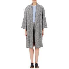 Gauchere Tweed Boucle Horulani Coat featuring polyvore, women's fashion, clothing, outerwear, coats, silver, black and white coat, tweed coat, black and white tweed coat, fur-lined coats and tweed wool coat.