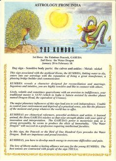 Zodiac Unlimited Indian astrology postcard: The Kumbha