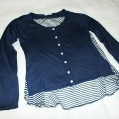 Nautical Cardigan Blouse Hem & Thread Nautical inspired blouse by Hem & Thread. Front of blouse is a baby blue light sweater material with long sleeves & functioning buttons all the way down. Back is semi-sheer navy and white stripes!! Super Cute!! Wear by itself, with a tank top under, or as a cardigan! Size Small, can fit an XS too. Hem & Thread Tops Blouses