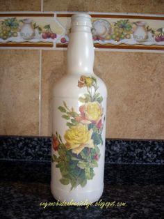 ¡Vamos a reciclar! - Botella decorada con decoupage
