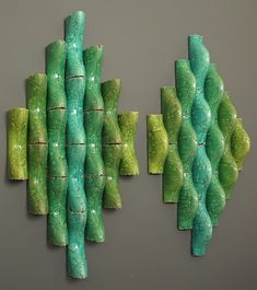 "Jason H Green Ceramic Art  Double Diamond 2008 terra cotta, slip, glaze  60""x54""x6"""