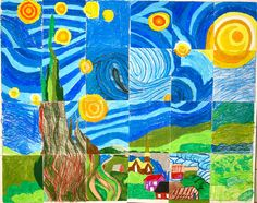 auction idea! each kid gets a square and colors with oil pastels. order on website. this one was done by a 4th Grade.