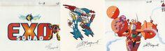 Lot Exosquad Logo Cel & Marsalla E-Frame Model  Exoforce Pilot Cel Will Meugniot