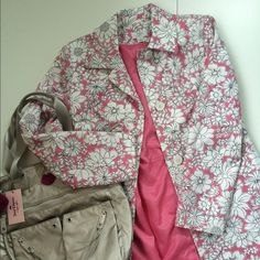 """Pretty Ann Taylor Loft Floral Coat Like New This darling coat features  a pretty pink floral pattern. Nicely tailored and shaped with a waistband, darts and seaming. It has front placket top stitching, two front pockets and back kick vent. Fully Lined  Like new condition. Only worn once.  Measurements: chest armpit to armpit, lying flat 20""""; waist 18""""; length shoulder to hem 34.5""""; sleeve 24"""".  100% Cotton; lining 100% Acetate.  Ann Taylor Loft Jackets & Coats"""
