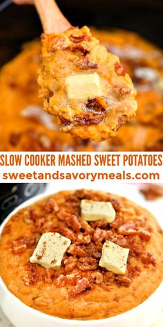 Slow Cooker Mashed Sweet Potatoes is the perfect buttery side dish for all your savory entrees! #slowcookermashedsweetpotatoes #sweetpotatoes #sidedish #slowcooker #thanksgiving #sweetandsavorymeals Freezer Meals, Easy Meals, Mashed Sweet Potatoes, Veggie Dishes, Pressure Cooking, Lunches And Dinners, Slow Cooker Recipes, Yummy Treats, Chicken Recipes