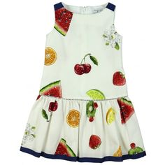 Monnalisa Girls Dress in White Fruit Design