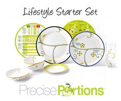"The Complete Lifestyle Starter Set includes every tool you need to develop or maintain a complete nutritional strategy, one that will get you the results you want and to continue succeeding.  Premium Starter Kit includes  1 - 9"" FOCUS coupe plate 1 - 10"" LIFE-style rim plate (no writing) 1 - 6"" Side Plate (bread/dessert)- 1 - 18oz Cereal/Soup Bowl 1 - 8oz Snack Bowl 1 - 10""oz Beverage Glass 1 Set of Eat & Learn Nutrition Discs - NEW!"