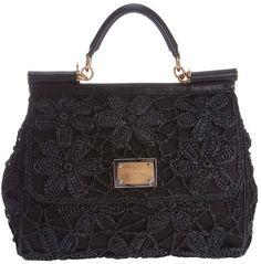 Dolce   Gabbana Miss Sicily Handbag in Black   Lyst Shopper Bag, Crochet  Bags, 59d5b4b7ce