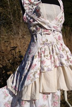 Altered couture Mori girl top, cottage chic, farmgirl glam blouse, gypsy festival, jane austin style, boho. $30.00, via Etsy.