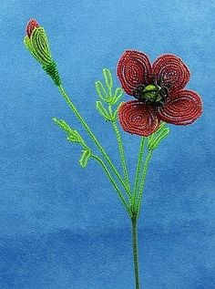 Vintage French Glass Beaded Red Poppy Anemone Flower Bouquet