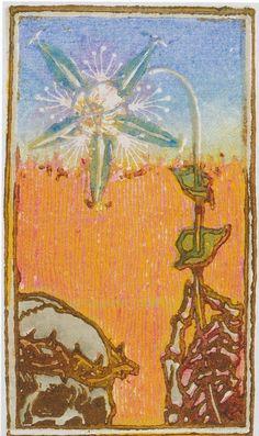 Väripuupiirros Kuolema ja kukka (yksityiskohta) syntyi vuonna 1896, vuosi taiteilijan Marjatta-tyttären kuoleman jälkeen.
