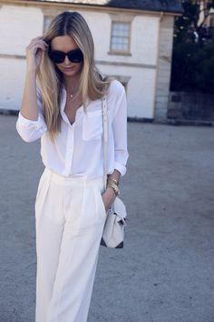 Wearing: Zara pants, Equipment shirt, Alexander Wang Marion bag, Zimmermann heels, Celine sunglasses, Michael Kors watch, Gorjana jewellery and Jacquie Aiche rings.