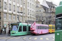 Pig tram, Basel. Yes, that's right, a pig tram. #tram #Basel #pig