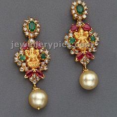 2 Lakshmi devi earrings with polki by Mangatrai jewelelrs - Latest Jewellery Designs