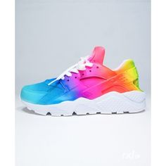 Nike Air Huarache RXL Custom Rainbow Remix Line ($250) ❤ liked on Polyvore featuring accessories