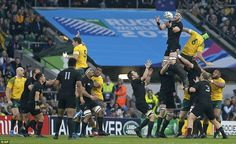 Kieran Read of New Zealand is lifted to win a line-out during the opening phase of the final
