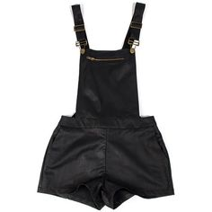 Faux Leather Overall Shorts - 2020AVE ($46) ❤ liked on Polyvore