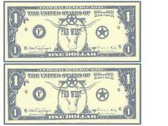 Faux billets de un dollar à imprimer pour des jeux...