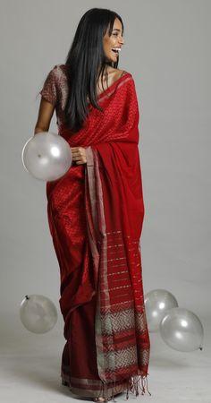 """Red Fair View"" saree inspired by the colour full canyon. Part of the collect. Tussar Silk Saree, Georgette Sarees, Latest Designer Sarees, Designer Dresses, Farewell Sarees, Dusky Skin, Indian Skin Tone, Minimal Look, Sari Dress"