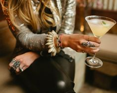 How to wear leather pants? | London Fashion Chronicles | Wear leather with sparkles, tons of funky jewelry and a martini, of course!