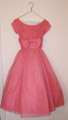 """Chiffon Party Dress"" - [1950's]~[Coral pink flowing semi sheer lining nylon.  Elegant ruched shelf bust bow short sleeve. Cocktail length bombshell nipped waist princess full circle.]'h4d'"