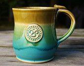 Ceramic Mug, Yoga, Om, Tea, Coffee, Turquoise Pottery