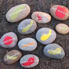 Cut vegetable silhouettes out of vinyl and put them on rocks to create cute and colorful garden markers.