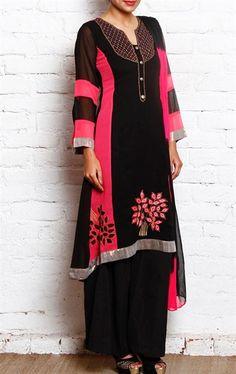 Mesmeric Black Ready Made Palazo Salwar Kameez